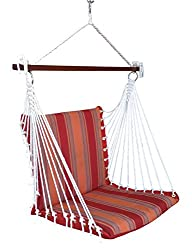 Hangit Polyester Premium Hanging Hammock Chair Swings with Cushion - Red Stripe