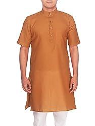 Rajubhai Hargovindas Men's Gold Tussar Cotton Kurta (Half Sleeve)
