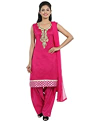 Idha Pink Straight Fit Chanderi Silk Salwar Suit For Women - B00XUC8ZDY