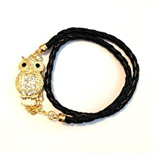 Goldtone Crystal Owl Lovers Black Braid Wrap Around Bracelet