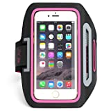 iPhone 6 ,6S,5,5S SPORTS ARMBAND- for Running,Cycling , Workouts or any Fitness Activity , Sweat Proof - Build in Key + Id + Credit Cards - Pink-For Men & Women by DanForce