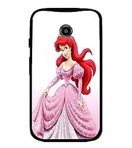 Printvisa Pink And White Dressed Girl Back Case Cover for Motorola Moto E2::Motorola Moto E (2nd Gen)