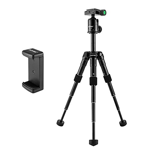 Zomei-Compact-Aluminum-Alloy-Desktop-Tripod-Mini-Tripod-with-Ball-Head-for-Sony-a6500-Nikon-Canon-D3300-EOS-Rebel-T5-Nikon-D3400-DSLR-Mirrorless-Camera-Black