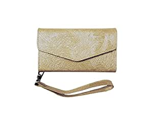 ATV Premium Quality PU Leather Cream Color Pouch Case Flip Cover With Detachable Strap For Lava A68