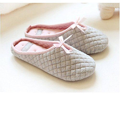 Women Lady's Slip-on Checkered Soft Warm Breathable Cotton Anti-skid Slippers Mules with Lovely Bow Cozy Home Household Footwear Shoes, Christmas Gift (Summer Household Slippers compare prices)