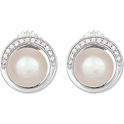 0.46ct Earrings Martinez - 925 Silver, Freshwater Cultured Pearl and Zirconia Crystals White