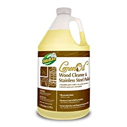OdoBan 936462-G4 Oil Wood Cleaner and Stainless Steel Polish, Lemon Scent, 1 Gallon Bottle