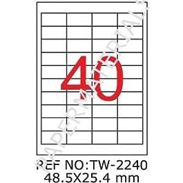 TANEX TW - 2240 universel-Étiquettes Adresses Étiquettes blanches 48.5 x 25,4 mm - 100 feuilles A4 rectangulaire