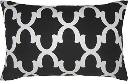 JinStyles® Cotton Canvas Quatrefoil Accent Decorative Throw Lumbar Pillow Sham (Black, White, Rectangular, 1 Cover for 14 x 22 Inserts)