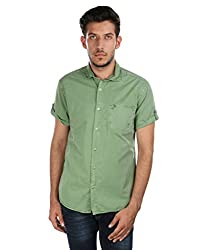 Oxemberg Men's Solid Casual 100% Cotton Lime Shirt