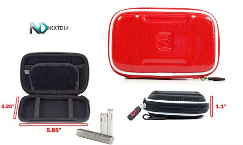 Portable Travel Vape Carrying Case Suitable For Xeo Shisha2Go E-Hookah Pen (Slim Red Eva Semi-Hard Shell) Includes Carabiner Hook For Easy Attachment + Nextdia Velcro Tie