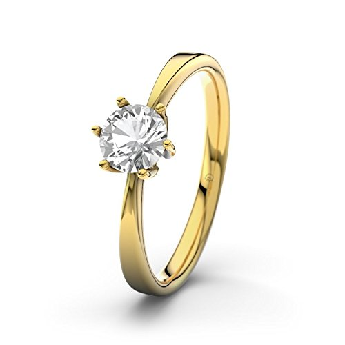 21DIAMONDS Eve Engagement Ring Brilliant Cut White Topaz 14 carat (585) Yellow Gold Ladies Engagement Ring