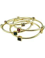 Oroca Arts -Exquisite Desginer Set Of 4 Bangles - Gold Plated With Color Stones