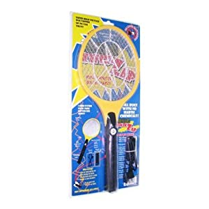 BugKwikZap YBUGZP010 Black-Tail Rechargeable Bug Zapper Electric Fly Swatter, 1-Pack