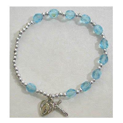 Adult Womens Stretch Rosary Bracelet Birthstone Aqua March.