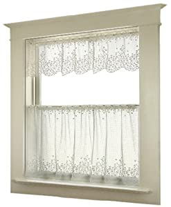 Heritage Lace Blossom 42-Inch Wide by 24-Inch Drop Tier, White