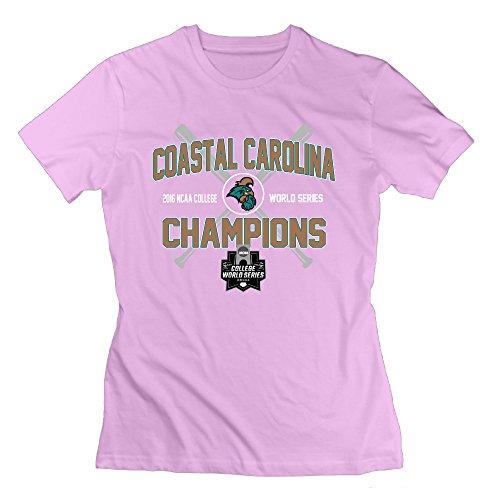 JMHLY Women's Coastal Carolina Chanticleers 2016 Champions Logo T-shirts Pink