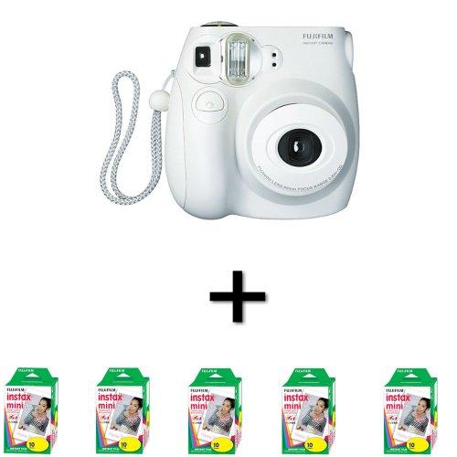 Fujifilm Instax Mini 7S Instant Film Camera White + 50 Instax Mini Film