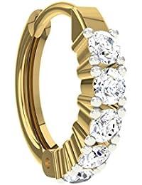 TBZ - The Original Traditional 18k Yellow Gold And Diamond Nose Ring - B01BD4N0K8