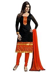 SR Women's Cotton Unstitched Dress Material (top black orange colour bottom duptta)