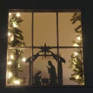 Amazon.com - Ventana de la Navidad Decoración, Natividad -