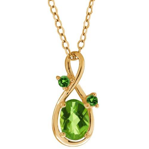 1.06 Ct Checkerboard Green Peridot and Diamond Gold Plated Silver Pendant