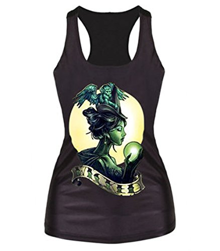 LOVME Women's Wicked Witches Monkeys Moon Magic Ball Breathable Tank Top (Wicked Witch Socks)