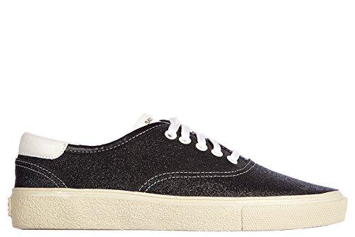 Saint Laurent Paris scarpe sneakers uomo in pelle nuove brightness nero EU 40 340249 GIH20 1090