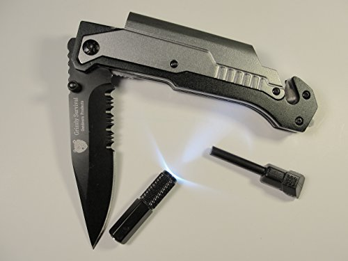 Best Pocket Survival Knife. Folding Serrated