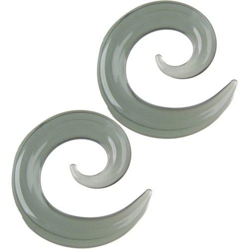 Pair of Glass Spirals: 000g Smoke
