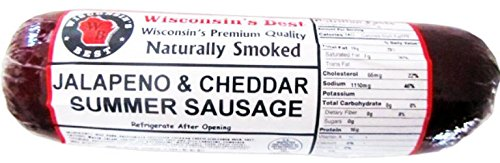 WISCONSIN'S BEST - Smoked Summer Sausage - JALAPENO & 100% WISCONSIN CHEDDAR CHEESE - Naturally Hickory Smoked - 12 oz  - Slice and Eat (Cheddar Cheese Slices compare prices)