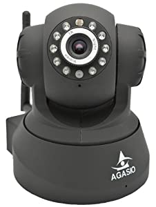 Agasio A502W Wireless IP Camera with IR-Cut Off Filter for TRUE COLOR Images (Not Washed Out), Auto-Iris (Auto-Brightness Adjustment), I/O Alarm Linkages, 26ft Nightvision, 3.6mm lens (90° Viewing Angle), Synology & Blue Iris Compatible, BLACK
