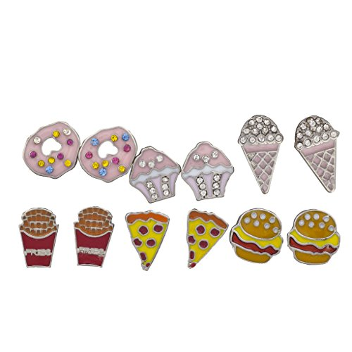 Lux Accessories Silver Tone Desserts and Junk Food Novelty Multi Earring Set 6PC (Pizza Ice Cream compare prices)