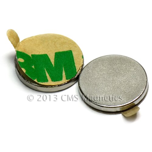 "Cms Magnetics® N45 Neodymium Magnet Dia 1/2''X1/16"" /W 3M Adhesive Backing On N Pole 10 Ct front-358330"