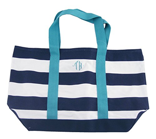 """Tommy Hilfiger Women'S Striped Canvas """"Th"""" Monogramed Beach Tote, Navy/White, Os"""