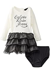 Calvin Klein Baby Girls' Long Sleeve Ruffled Dress