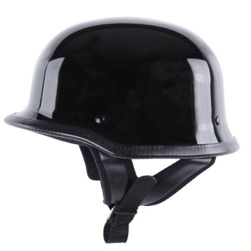 German Helmets - DOT German Motorcycle Helmet 115 Black, Medium