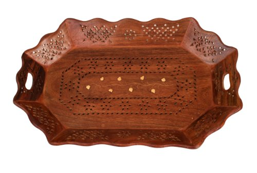 Decorative Hand Carved Rosewood Serving Tray Platter Dish Kitchen Accessories Gifts for Men Women