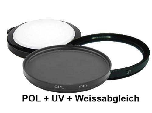 equipster UV + Polfilter + Weißabgleich Objektivschutzdeckel Set für Sigma 18-125mm f3.8-5.6 DC OS HSM [Minolta/Sony]