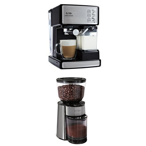 Mr. Coffee Cafe Barista Espresso Maker and BVMC-BMH23 Automatic Burr Mill Grinder Bundle ...