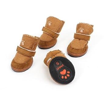 pares Hook Marrón Zapatos velcro Suela antideslizante para perros