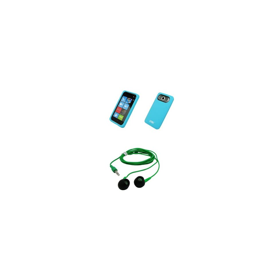 EMPIRE Light Blue Silicone Skin Cover Case + Green 3.5mm Stereo Headphones for T Mobile HTC HD7