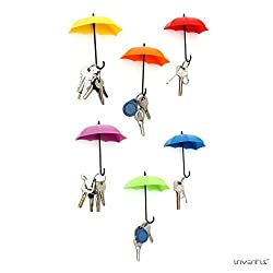Inventis (TM) Umbrella Drop Style Clothes Key Hat Wall Hanger Hooks Shelves Coin Shelf Bathroom Kitchen Home Office School College Door Wall Multipurpose Holder 3 pcs in 1 set (Random Color)