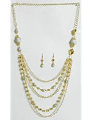 Five Layer Golden Chain With White Bead Necklace And Earrings - Beads And Metal