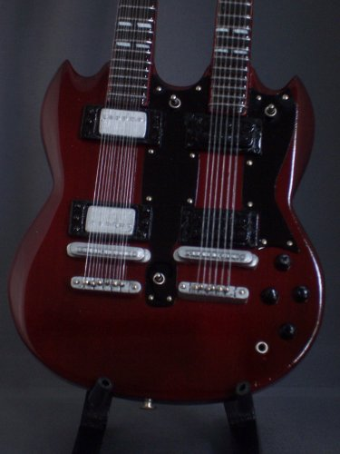 Miniature Guitar Led Zeppelin Jimmy Page Red Doubleneck