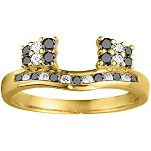 Yellow Plated Sterling Silver Wedding Ring Wrap (0.42 crt. Black And White Cubic Zirconia).