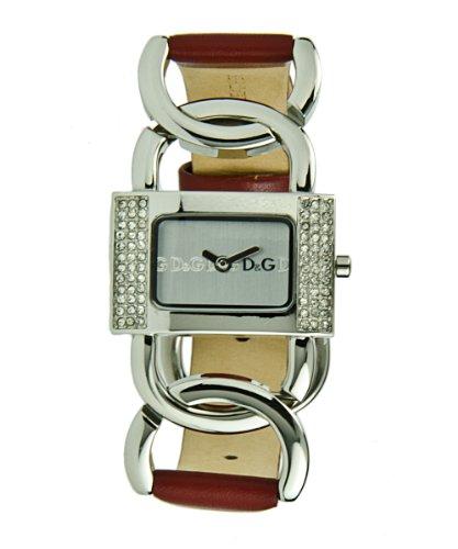 D&G Dolce&Gabbana DW0565 - Reloj analógico de mujer de cuarzo con correa de piel roja - sumergible a 30 metros