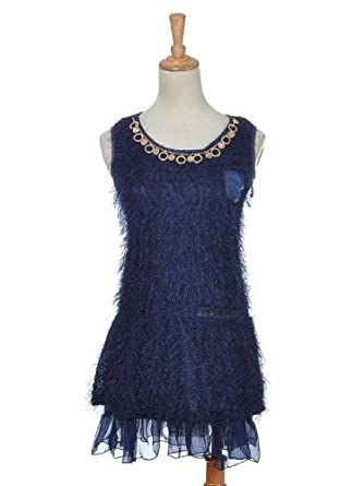 Anna-Kaci S/M Fit Royal Blue Sleeveless Unique Dramatic Style Party Dress