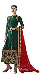 Ealegant Green Embroidered Straight Suit