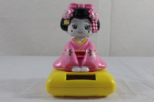 Solar Powered Japanese Maiko Car Bobble Head Geisha Girl Lady Doll - 1